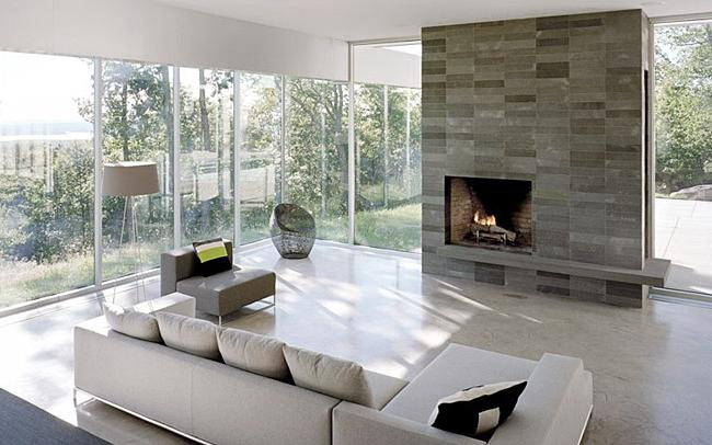 design of living room with fireplace photo