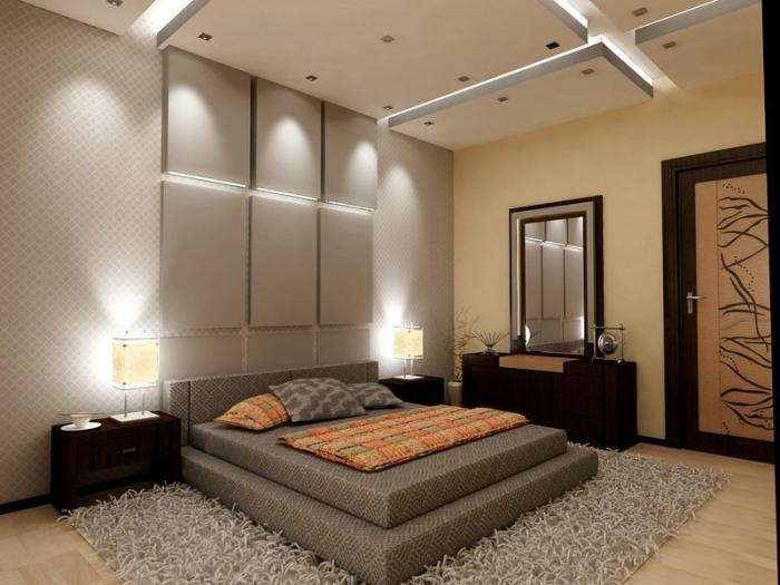 Separation of the room into two zones: fashionable, stylish and simple