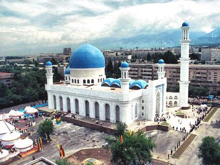 Sights of the Kazakh steppe. The mosque of Almaty is the central part of the Islamic culture of Asia