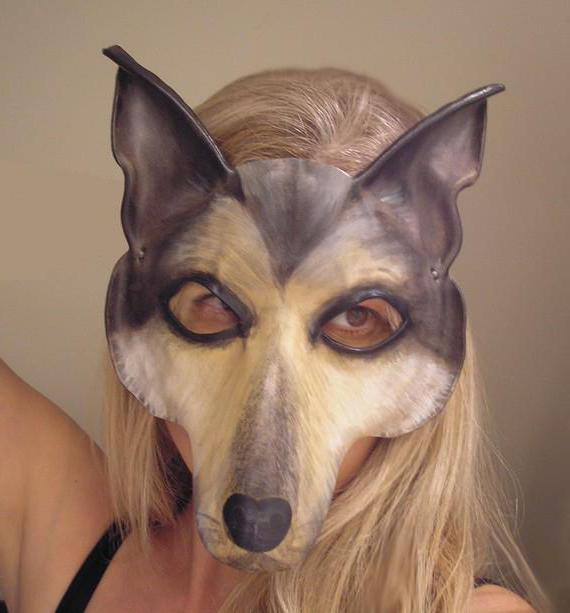 Dog mask with own hands